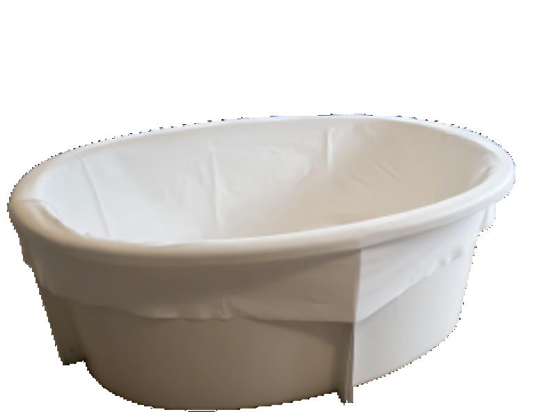 Ovaal Bevalbad met zitje van glasfiber voor een waterbevalling.
